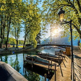 Sunset boats at dock Lake Annecy France