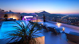 Luxury roof top pool and terrace at sunset