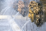 Fountain, faces, jets, splashes, water, Peterhof