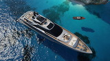 YACHT top view on the sea