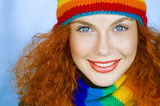 redhair girl with scarf and hat