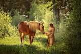 Forest, summer, light, horse, woman, girl, pregnant, pregnancy