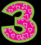 Pink number three with hearts