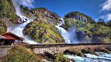 Bridge Spanning Over Latefossen Waterfall Odda Norway