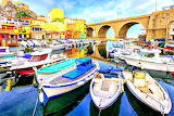Boats and Bridge Marseille France