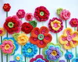 ^ Crochet button flowers
