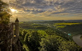 Germany, Saxony, sunset over the castle and river Elbe