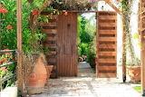 Vintage door entrance to the backyard