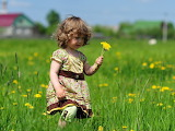 Child girl grass field flowers walk dress