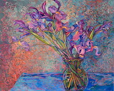Irises In Vase By Erin Hanson