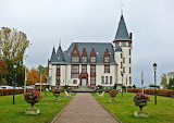 Autumn, trees, flowers, design, castle, lawn, Germany, lights, t