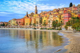 Sea, coast, France, houses, Menton, beach, color, city