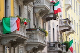 Tricolor flags on the balconies