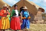 Traditional costumes of women living in Puno, Lake Titicaca