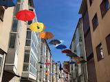 Burgos, paraguas y siluetas de Mary Poppins, Spain