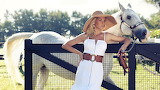 Girl, woman, white dress, hat, horse, gate, nature
