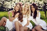 Girls, greens, sun, trees, flowers, nature, three, white dresses