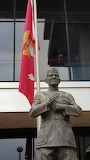 Lejeune Statue with USMC Flag