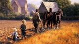 Family farm man children field house horse