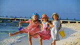 Three girls sea beach sand children girlfriends