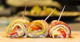 ^ Bacon vegetable rolls