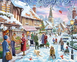 Christmas-village-painting