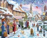 Christmas-village-painting