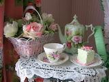 Still life, roses, flowers, tea set, cake, sweet, basket