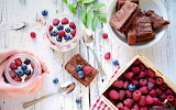 Fruit and brownies