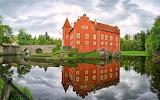 Castle, lake, bridge, reflection