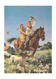 Children ride horses
