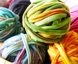 Balls of fabric yarn