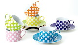 ^ Polka Dot Cups and Saucers