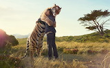 Friendship of a man with a tiger