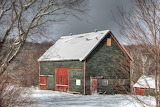 A barn in the snow
