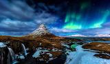 Iceland-kirkjufell-mountain-volcano-rock-waterfall-snow-night-no