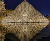 Museums - Louvre Museum Pyramid at night - Paris France