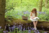 Forest, flowers, girl, trees, basket, book, writing, notepad, ch