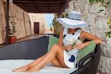 Girl, woman, hat, dress, house, exterior