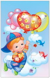 Boy flying with baloons