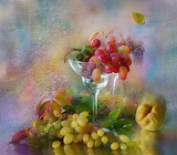 Fruit, water drops, leaves, berries, grapes, still life, still l