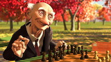 elderly man playing chess