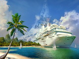 Big-ship-tropical-sea-palms-water-ocean
