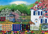 Painting - Quilts on Fence