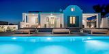 Luxury Santorini Villa and illuminated pool
