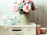 Flowers, bouquet, kettle, suitcase, peonies, decor, bowl, teapot
