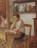 Kuzma Petrov-Vodkin, Girl at the Desk, 1934