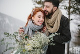 Winter, girl, snow, trees, love, joy, flowers, nature, pair, guy