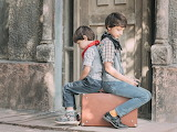 Children, seated, suitcase, travel, country