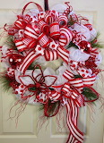 ^ Candy Cane Mesh Christmas Wreath